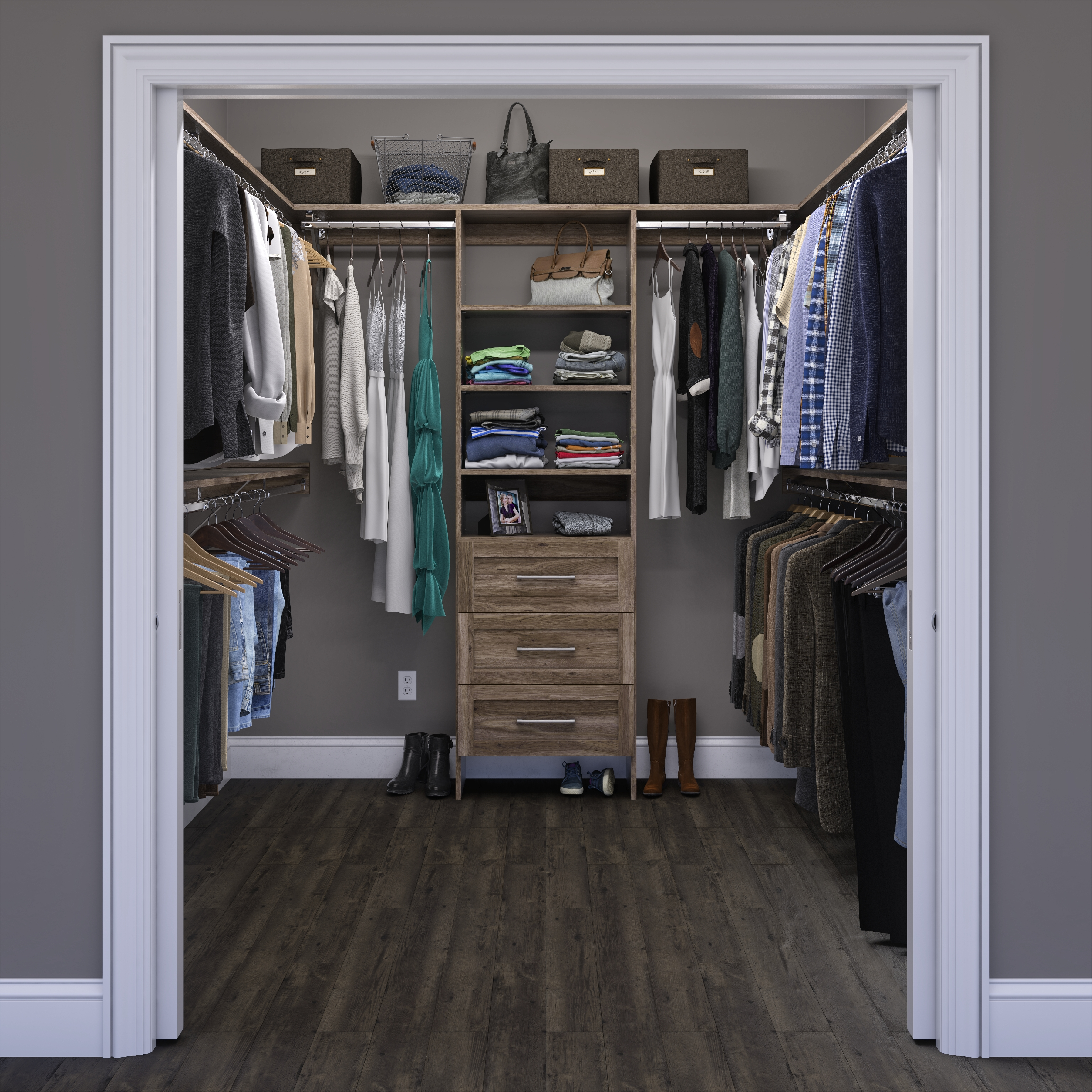 Grooved Closet Shelving - Walk in - Salt Oak